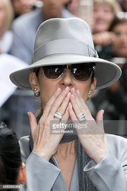 Singer Celine Dion leaves the 'Art District' apartments on July 2 2016 in Paris France