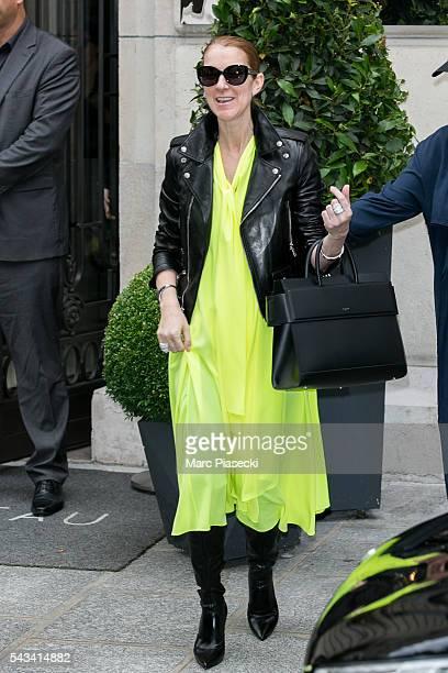 Singer Celine Dion leaves the 'Art District' apartments on June 28 2016 in Paris France
