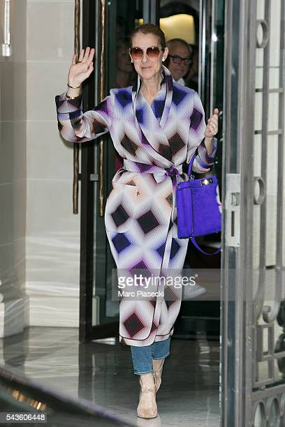Singer Celine Dion leaves the 'Art District' apartments on June 29 2016 in Paris France