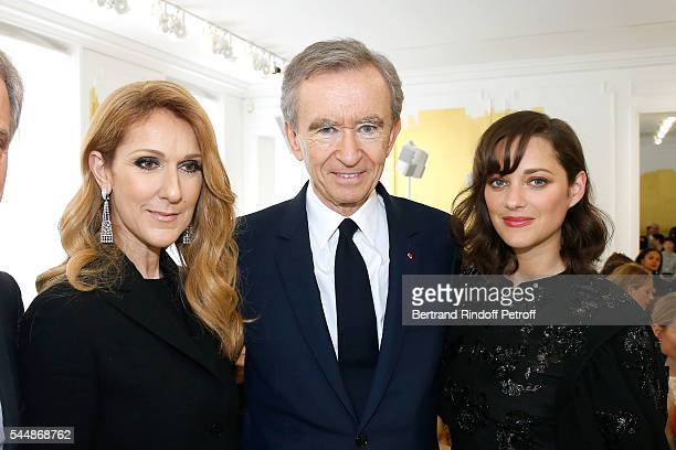 Singer Celine Dion, Owner of LVMH Luxury Group Bernard Arnault and actress Marion Cotillard attend the Christian Dior Haute Couture Fall/Winter...
