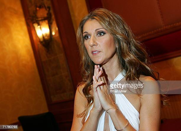 Singer Celine Dion pauses as she is interviewed backstage after performing at the 41st annual Labor Day Telethon to benefit the Muscular Dystrophy...