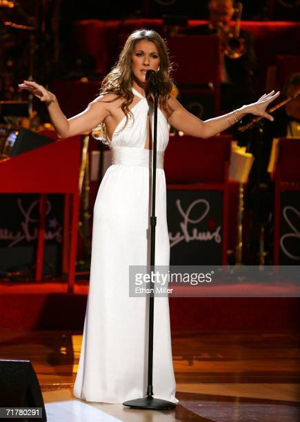 Singer Celine Dion performs at the 41st annual Labor Day Telethon to benefit the Muscular Dystrophy Association at the South Coast Hotel Casino...