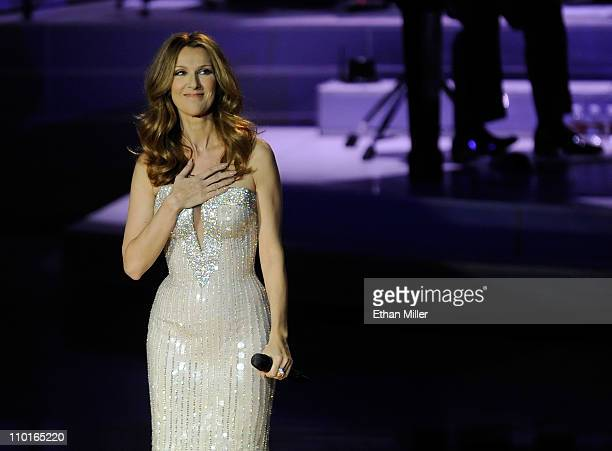 Singer Celine Dion performs during the first night of her new show at The Colosseum at Caesars Palace March 15 2011 in Las Vegas Nevada Dion who...