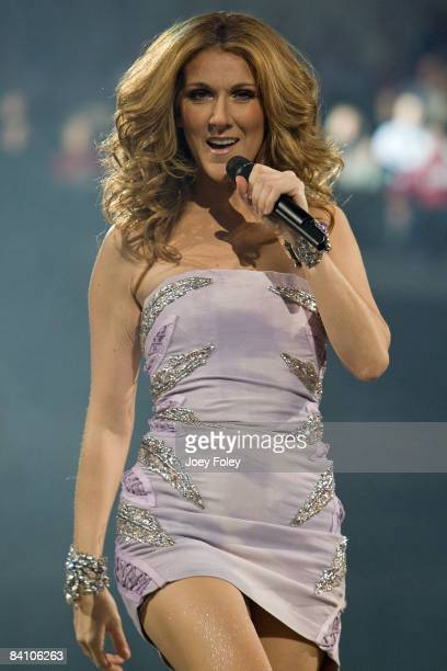 Singer Celine Dion performs during the Taking Chances tour at the Conseco Fieldhouse on December 21 2008 in Indianapolis Indiana