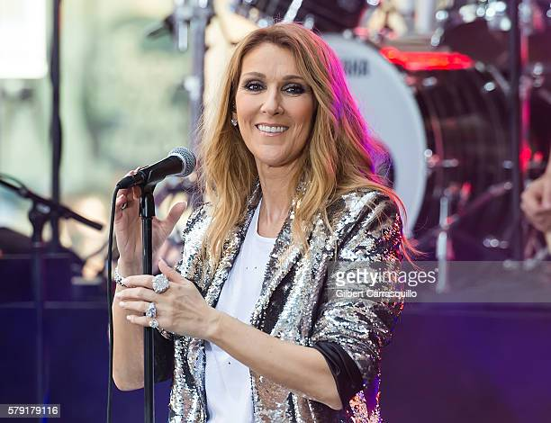 Singer Celine Dion performs on NBC's 'Today' at Rockefeller Plaza on July 22 2016 in New York City