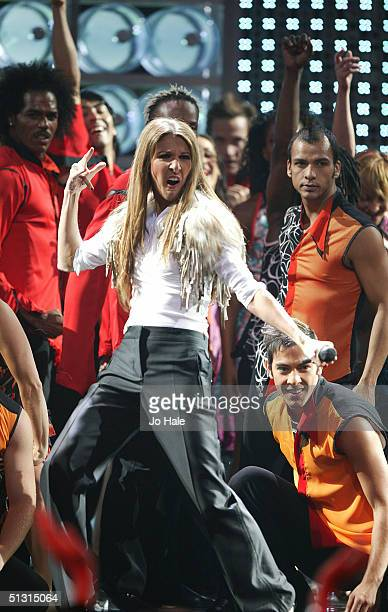 SEPTEMBER 15 Singer Celine Dion performs on stage at the 2004 World Music Awards at the Thomas Mack Centre on September 15 2004 in Las Vegas