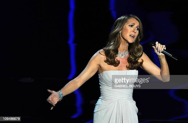 Singer Celine Dion performs on stage at the 83rd Annual Academy Awards held at the Kodak Theatre on February 27 2011 in Hollywood California AFP...