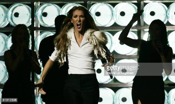 Singer Celine Dion performs on stage during the 2004 World Music Awards at the Thomas and Mack Center on September 15 2004 in Las Vegas Nevada