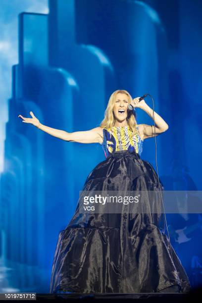 Singer Celine Dion performs on the stage in concert at Cotai Strip Cotai Arena on June 29, 2018 in Macau, China.