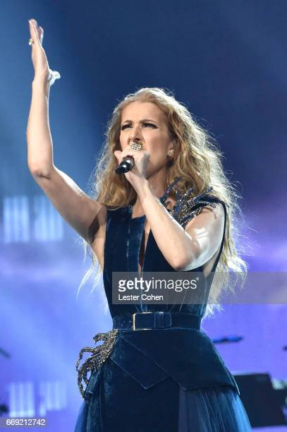 Singer Celine Dion performs onstage during 'Stayin' Alive A GRAMMY Salute To The Music Of The Bee Gees' on February 14 2017 in Los Angeles California