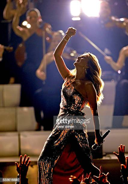 Singer Celine Dion performs onstage during the 2016 Billboard Music Awards at TMobile Arena on May 22 2016 in Las Vegas Nevada