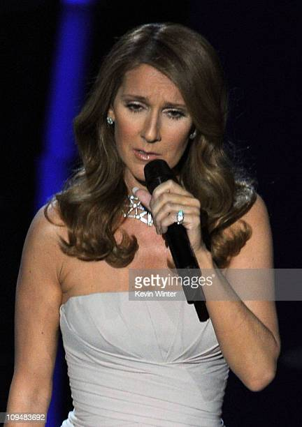 Singer Celine Dion performs onstage during the 83rd Annual Academy Awards held at the Kodak Theatre on February 27 2011 in Hollywood California