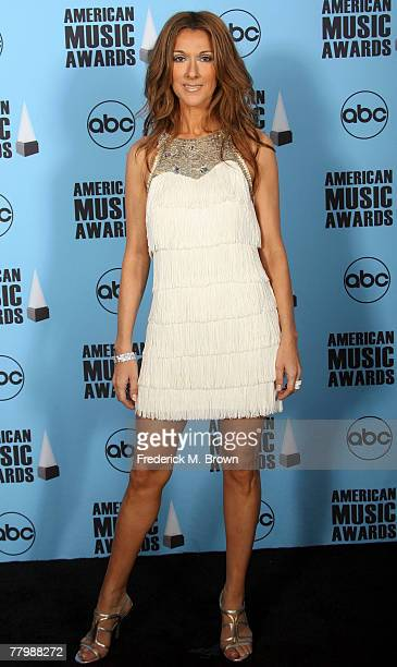 Singer Celine Dion poses in the press room at the 2007 American Music Awards held at the Nokia Theatre LA LIVE on November 18 2007 in Los Angeles...