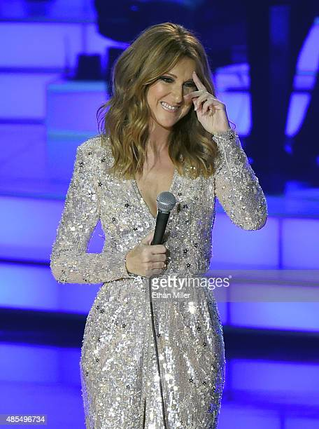 Singer Celine Dion reacts to the audience response as she performs at The Colosseum at Caesars Palace as she resumes her residency on August 27 2015...