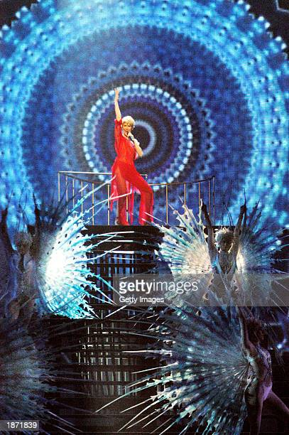 Singer Celine Dion rehearses for her upcoming Celine Dion A New Day concert at The Colosseum at Caesars Palace in Las Vegas Nevada Opening night is...