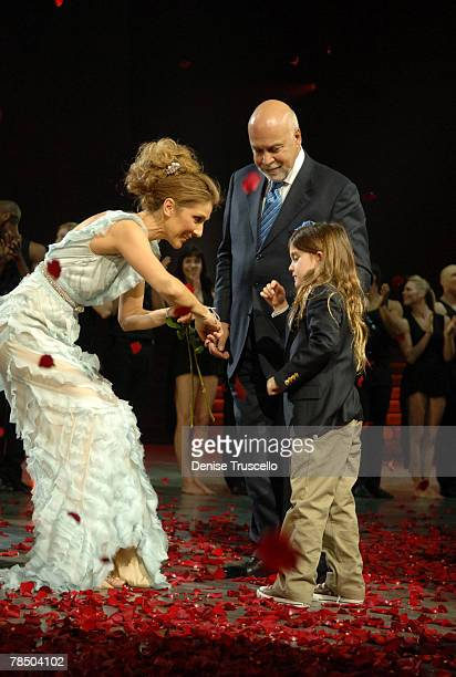 Singer Celine Dion Rene Angelil and Rene Charles Angelil at Celine's final show after five years at The Colosseum at Caesars Palace on December 15...