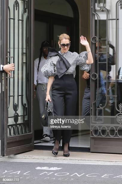 Singer Celine Dion seen wearing Dice Kayek top Celine pants Tom Ford shoes and bag from Celine Dion Collection on July 6 2017 in Paris France