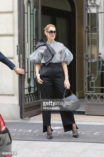 Singer Celine Dion seen wearing Dice Kayek top Celine pants Tom Ford shoes and bag from Celine Dion Collection on July 6 2017 in Paris France