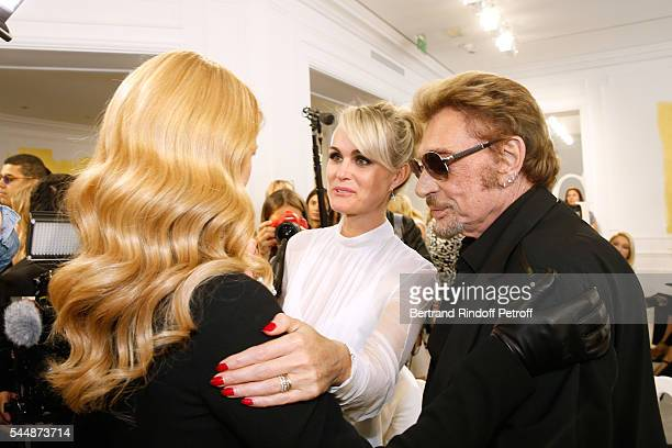 Singer Celine Dion singer Johnny Hallyday and his wife Laeticia attend the Christian Dior Haute Couture Fall/Winter 20162017 show as part of Paris...