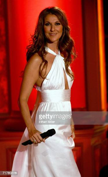 Singer Celine Dion smiles after performing at the 41st annual Labor Day Telethon to benefit the Muscular Dystrophy Association at the South Coast...