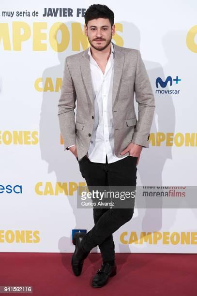 Singer Cepeda attends 'Campeones' premiere at Kinepolis cinema on April 3 2018 in Madrid Spain