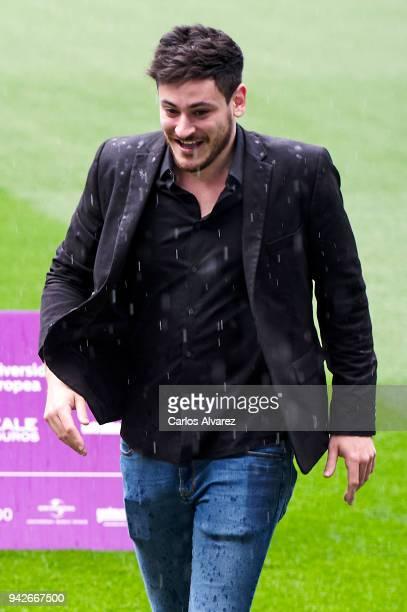 Singer Cepeda attends the presentation of 'OT Bernabeu Caminando Juntos' concert at the Santiago Bernabeu Stadium on April 6 2018 in Madrid Spain