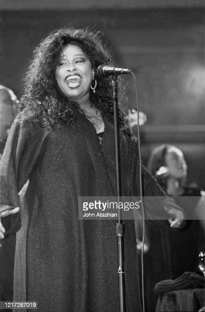"""Singer Chaka Kahn is shown performing on stage during a """"live"""" concert appearance on January 20, 2001."""