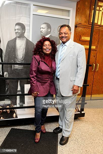 Singer Chaka Khan and Reverend Jesse Jackson poses for photos at the Rainbow PUSH National Headquarters in Chicago Illinois on JULY 27 2013