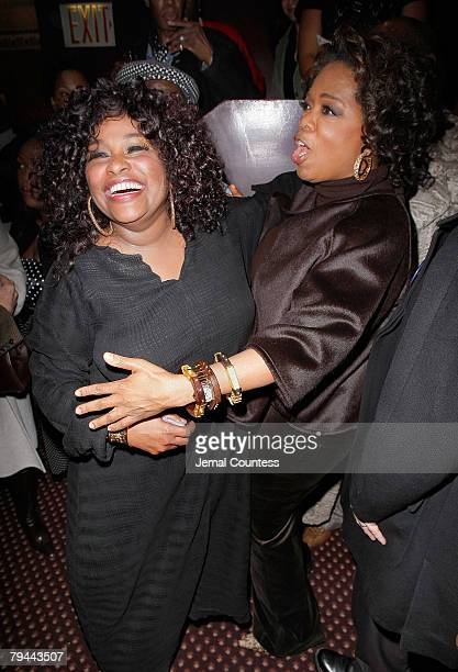 Singer Chaka Khan is congratulated by Oprah Winfrey at the Cast Change Celebration for New cast members joining the Broadway Production of The Color...