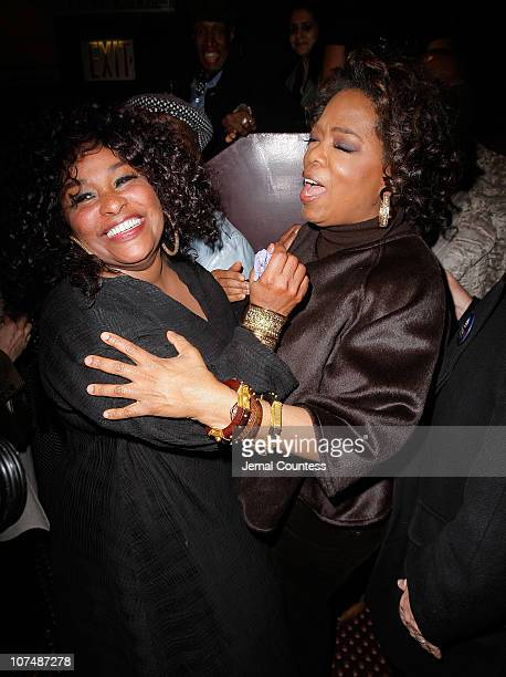 Singer Chaka Khan is congratulated by producer Oprah Winfrey at the Cast Change Celebration for new cast members joining the Broadway Production of...