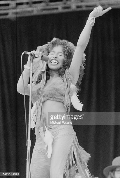 Singer Chaka Khan performing with American funk band Rufus at the 'Midsummer Music' oneday festival at Wembley Stadium London 21st June 1975