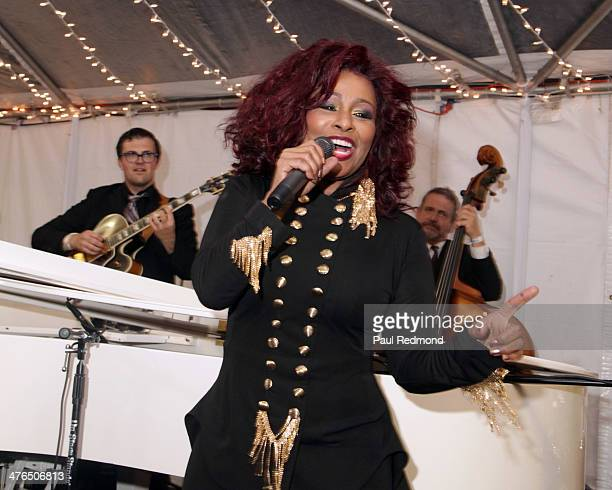 Singer Chaka Khan performs at the 15th Annual Academy Awards Viewing Party Benefiting Children Uniting Nations at Warner Bros Estate on March 2 2014...