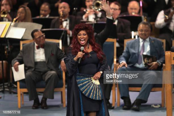 Singer Chaka Khan performs at the funeral for Aretha Franklin at the Greater Grace Temple on August 31 2018 in Detroit Michigan Franklin died at the...