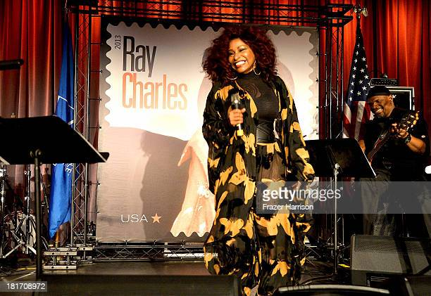 Singer Chaka Khan performs at The GRAMMY Museum on September 23 2013 in Los Angeles California performs during the unveiling of the new Ray Charles...