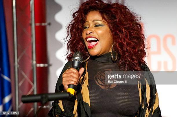 Singer Chaka Khan performs at the US Postal Service First Day Of Issue Ceremony of the Ray Charles Forever Stamp at The GRAMMY Museum on September 23...