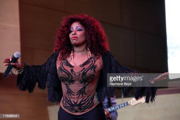 Singer Chaka Khan performs during her 40th Anniversary In Music 60th Birthday Celebration concert at the Jay Pritzker Pavilion in Chicago Illinois on...