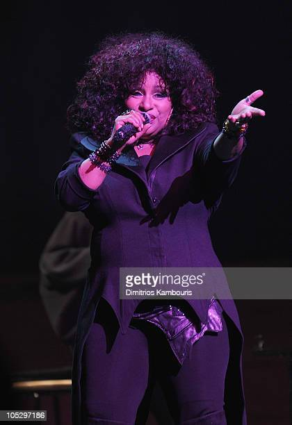 Singer Chaka Khan performs during the FFANY Shoes on Sale Benefit for Breast Cancer Research and Education presented by QVC at Frederick P Rose Hall...