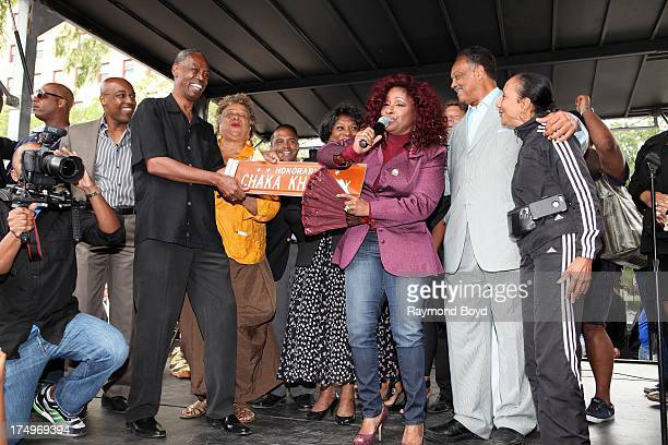 Singer Chaka Khan performs for her hometown crowd after being presented the street sign Chaka Khan Way from Carl McKenzie after Blackstone Avenue at...