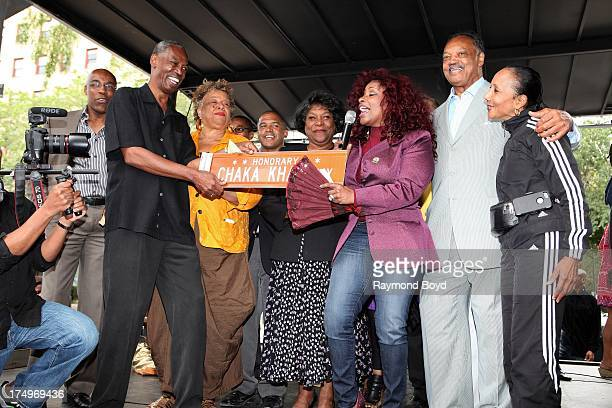 Singer Chaka Khan performs for her hometown crowd after being presented the street sign 'Chaka Khan Way' from Carl McKenzie after Blackstone Avenue...