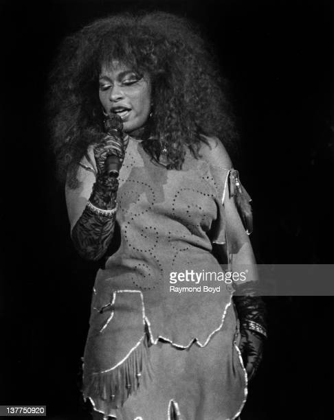 Singer Chaka Khan performs at Park West Theater in Chicago Illinois in 1984