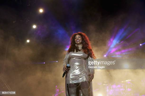 Singer Chaka Khan performs onstage at the 2017 ESSENCE Festival Presented By Coca Cola at the MercedesBenz Superdome on July 1 2017 in New Orleans...