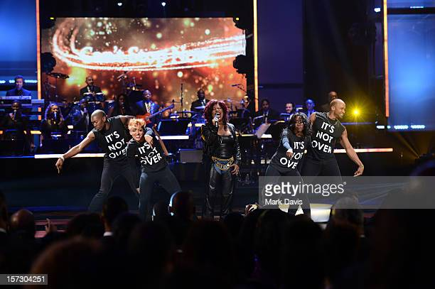 Singer Chaka Khan performs onstage during UNCF's 33rd Annual An Evening Of Stars held at Pasadena Civic Auditorium on December 1 2012 in Pasadena...