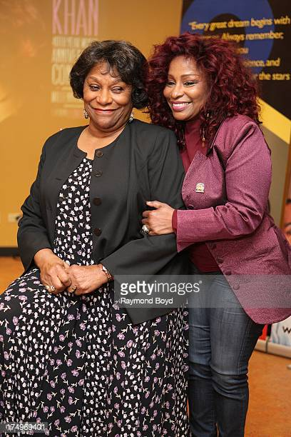 Singer Chaka Khan poses with her mother Sandra Coleman after interviews at the Little Black Pearl Workshop in Chicago Illinois on JULY 27 2013