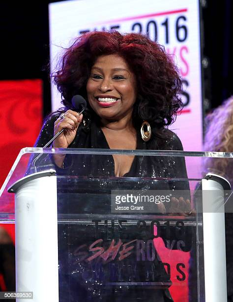 Singer Chaka Khan speaks on stage at the She Rocks Awards during day 2 of the 2016 NAMM Show at the Anaheim Hilton on January 22 2016 in Anaheim...