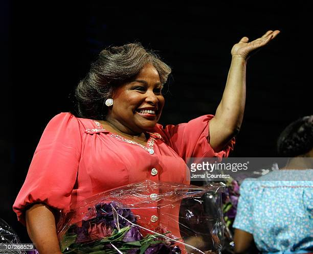Singer Chaka Khan takes a bow following her debut in the Broadway production of 'The Color Purple' at the Broadway Theatre on January 9 2007 in New...