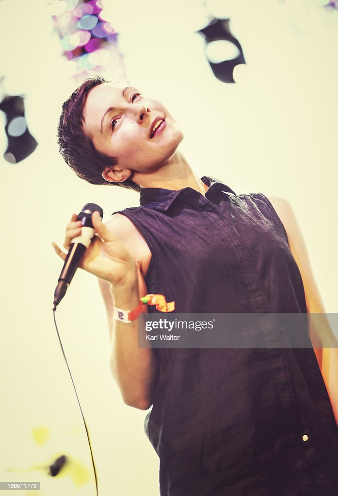 Singer Channy Leaneagh of Polica performs onstage during day 1 of the 2013 Coachella Valley Music & Arts Festival at the Empire Polo Club on April 12, 2013 in Indio, California.