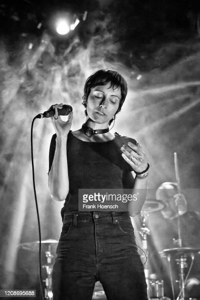Singer Channy Leaneagh of the American band Polica performs live on stage during a concert at the Columbia Theater on February 25, 2020 in Berlin,...