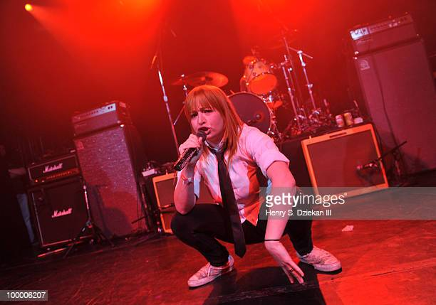 Singer Chantal Claret of of Morningwood performs at the Joey Ramone Foundation For Lymphoma Research benefit concert at The Fillmore New York at...