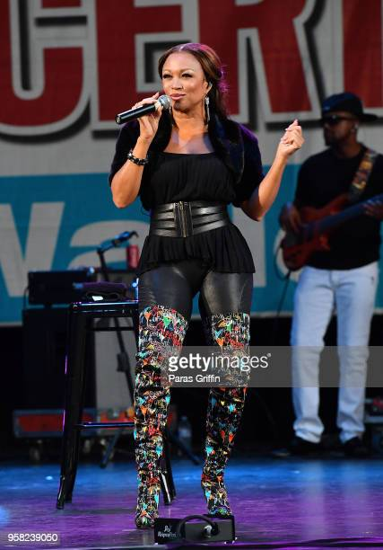 Singer Chante Moore performs onstage at Wade Ford Summer Concert Series presents Love Laughter at Mable House Barnes Amphitheatre on May 13 2018 in...