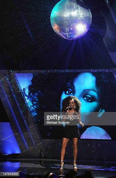 Singer Chante Moore performs onstage during the 2012 BET Awards at The Shrine Auditorium on July 1 2012 in Los Angeles California